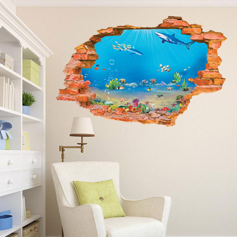 Hot 3d sea world wall stickers removable wallpaper vinyl for Christmas wall mural plastic