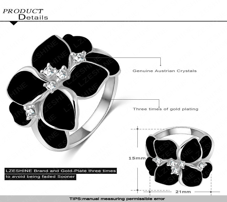 Преувеличены дизайн платины покрытие австрийский Cystal элемент SWA черный цветок кольцо для женщин Ri-HQ1006-B