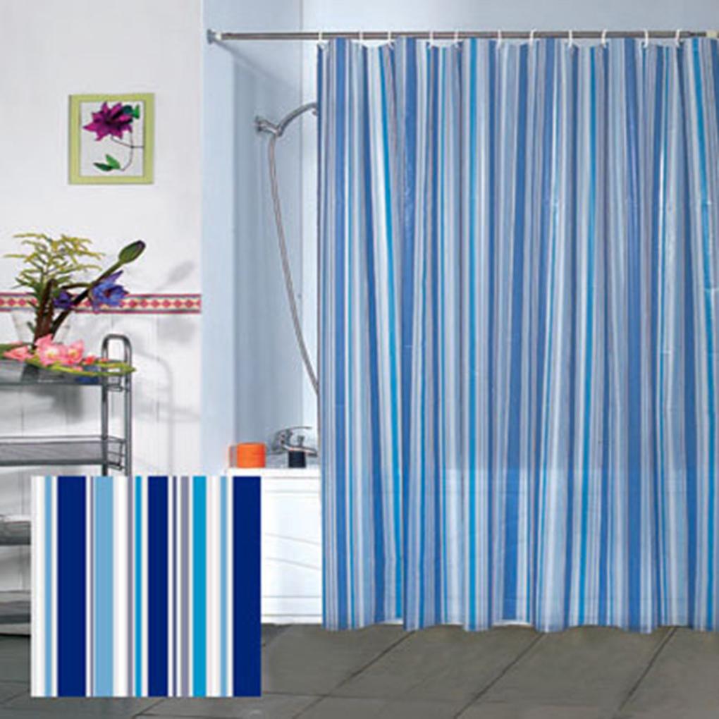 Blue bathroom curtains - Artistic Simple Style Blue Vertical Striped Peva Bathroom Curtain Waterproof Mouldproof Bath Curtain 180 180cm