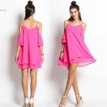 Buy New Fashion Women Summer Chiffon Dress Casual Solid V-Neck Beach Dress Sexy Shoulder Spaghetti Strap Party Dress Loose U2 for $14.74 in AliExpress store