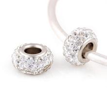 14*8 mm Rhinestone Beads Round Chamilia DIY Spacer European Murano Troll Czech Bead Charm Fit For bracelet pandora silver BE0423