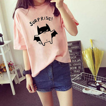Buy Cute Bat Print Lady Short Sleeve T-shirt Cotton Comfortable Women Tshirt Spring Summer Round Neck T-shirt Women New Style Tops for $3.32 in AliExpress store
