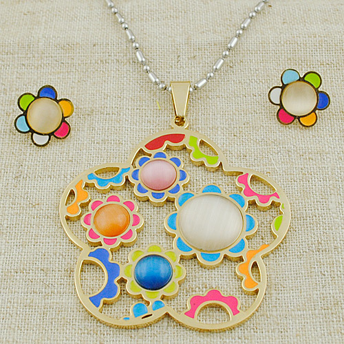 Color Flower Hollow Earrings Pendant Necklace Jewelry Sets Stainless Steel Women ,GTS113 - GS Fashion store