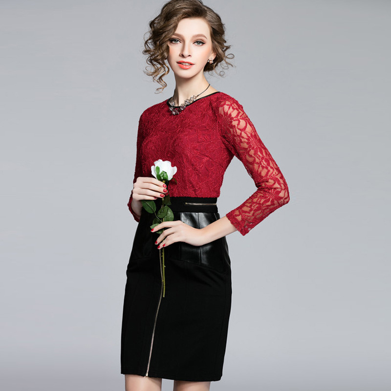 2016 New Lace Spell Leather Sexy Club Black Dress New Style Spring Dress Dress With Zipper In Back Korean Lace Dress B Brand