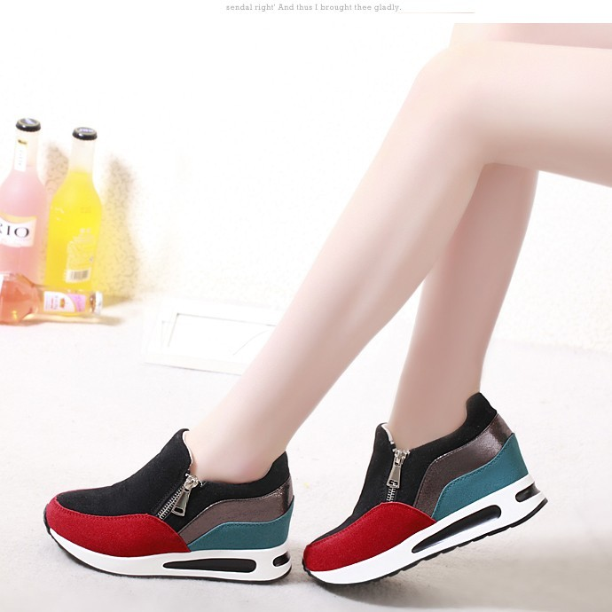 Hot 2016 Spring New Arrival Height Increasing Shoes Fashion Women Wedges Casual Shoes Leisure Student's Zipper Footwears ML2768