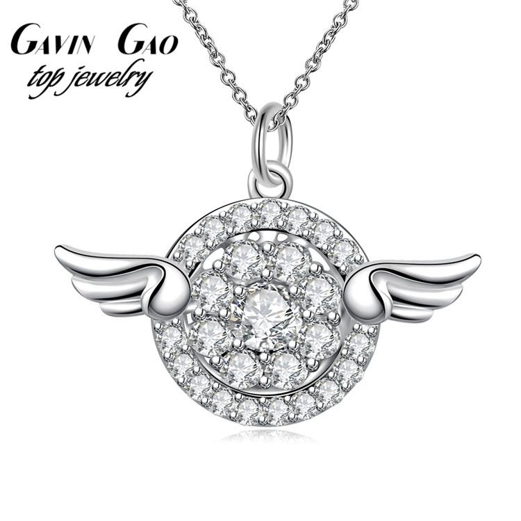 Top Quality AAA+ Cubic Zircon Diamond Silver Plated Angel Wings Pendant Necklaces For Women/Girls Wedding Jewelry(China (Mainland))