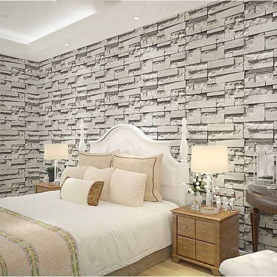 Vintage natural 3d wallpaper grey brick stone effect wall for Grey brick wallpaper bedroom