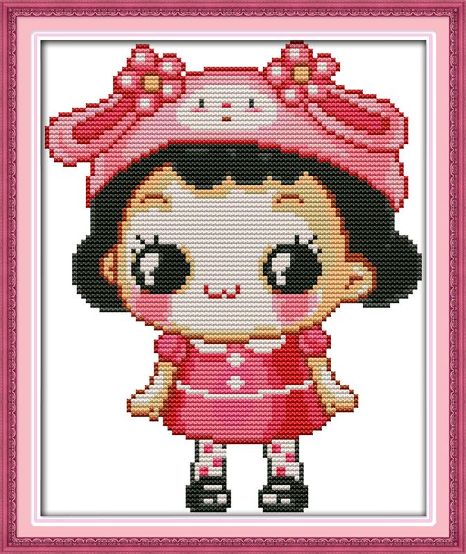 joy sunday cartoon style the lovely little girl christmas cross stitch pinterest patterns kits for baby needlepoin craft