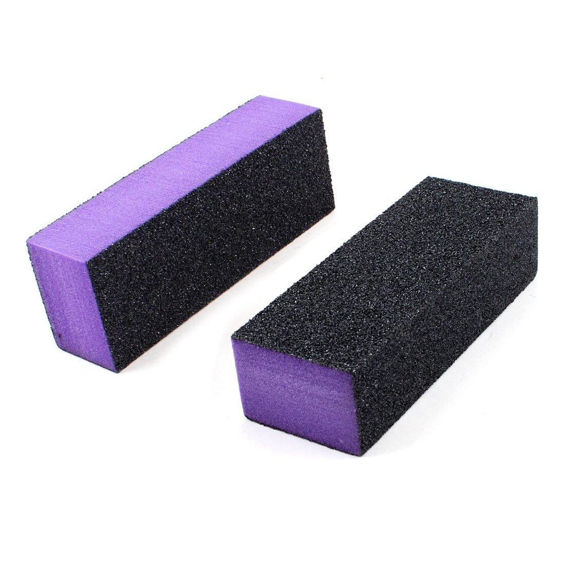 Black Purple 4 Way Nail File Art Shiner Nail Polish Buffer Buffing Block 2x(China (Mainland))