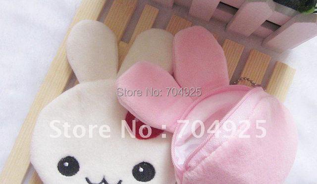 6PCS Kawaii Strawberry Rabbits Plush Coin Hand  Purses Wallet BAG Pouch Pendant BAG Pouch Handbag Chain BAG CASE BEAUTY CASE BAG
