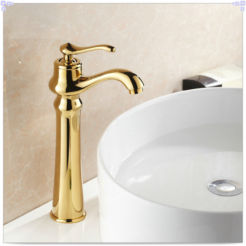 Gold finish bathroom countertop basin faucet single lever for Gold bathroom sink taps