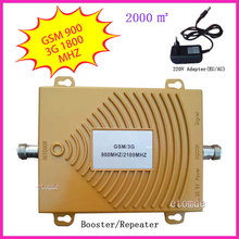 Hot sale GSM/3G WCDMA 900/2100MHZ Booster Dual Band Signal Amplifier RF Repeater Kit for Mobile Phone Adpater wholesale
