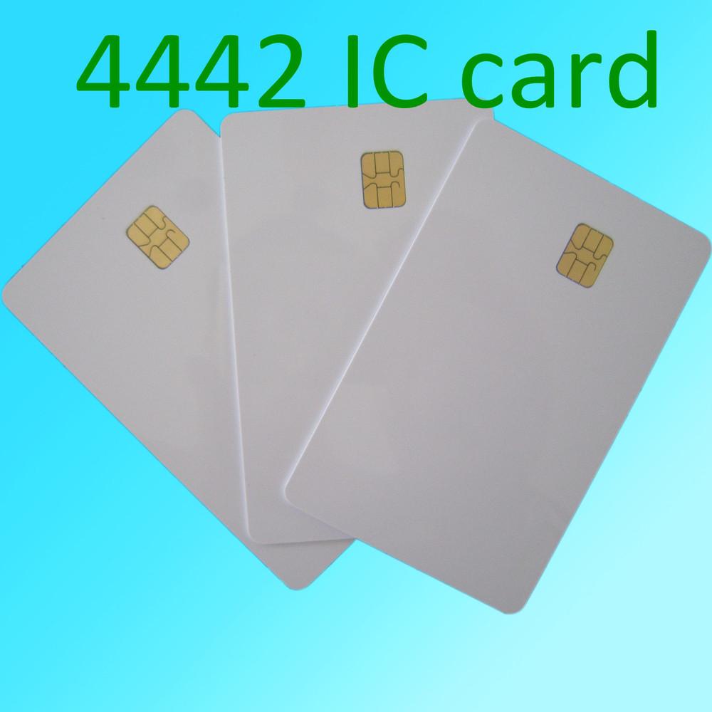 Plain White PVC Plastic SLE4442 Contact CHIP Cards(China (Mainland))