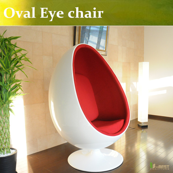 U-BEST Oval Eye Ball Chair with red cushion and white fiberglass egg chair(China (Mainland))
