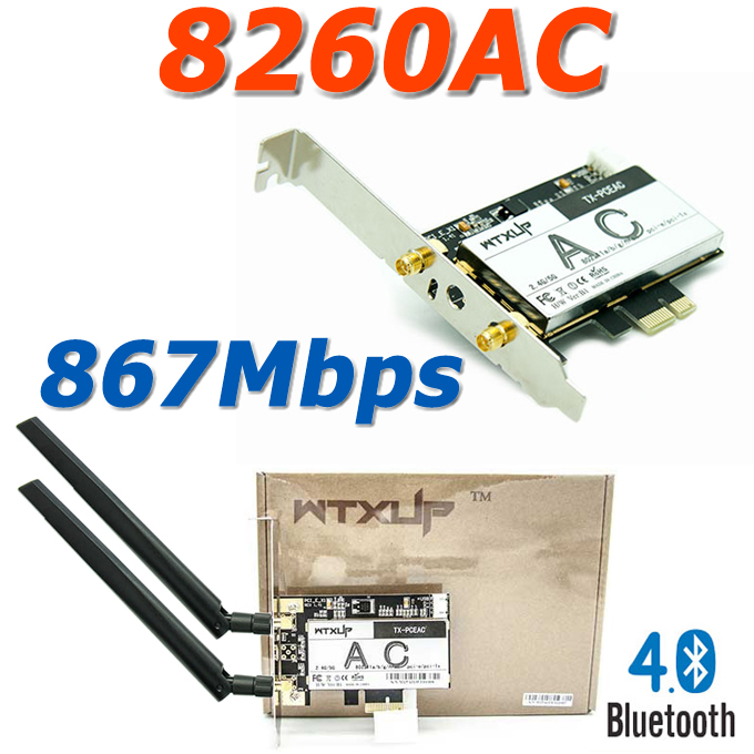 New 8260AC 8260NGW NGFF 802.11AC 867Mbps PCI-E WiFi Adapter PCI Express WiFi Card with Bluetooth 4.0 BT 4.0 with 2* 5dBi Antenna(China (Mainland))