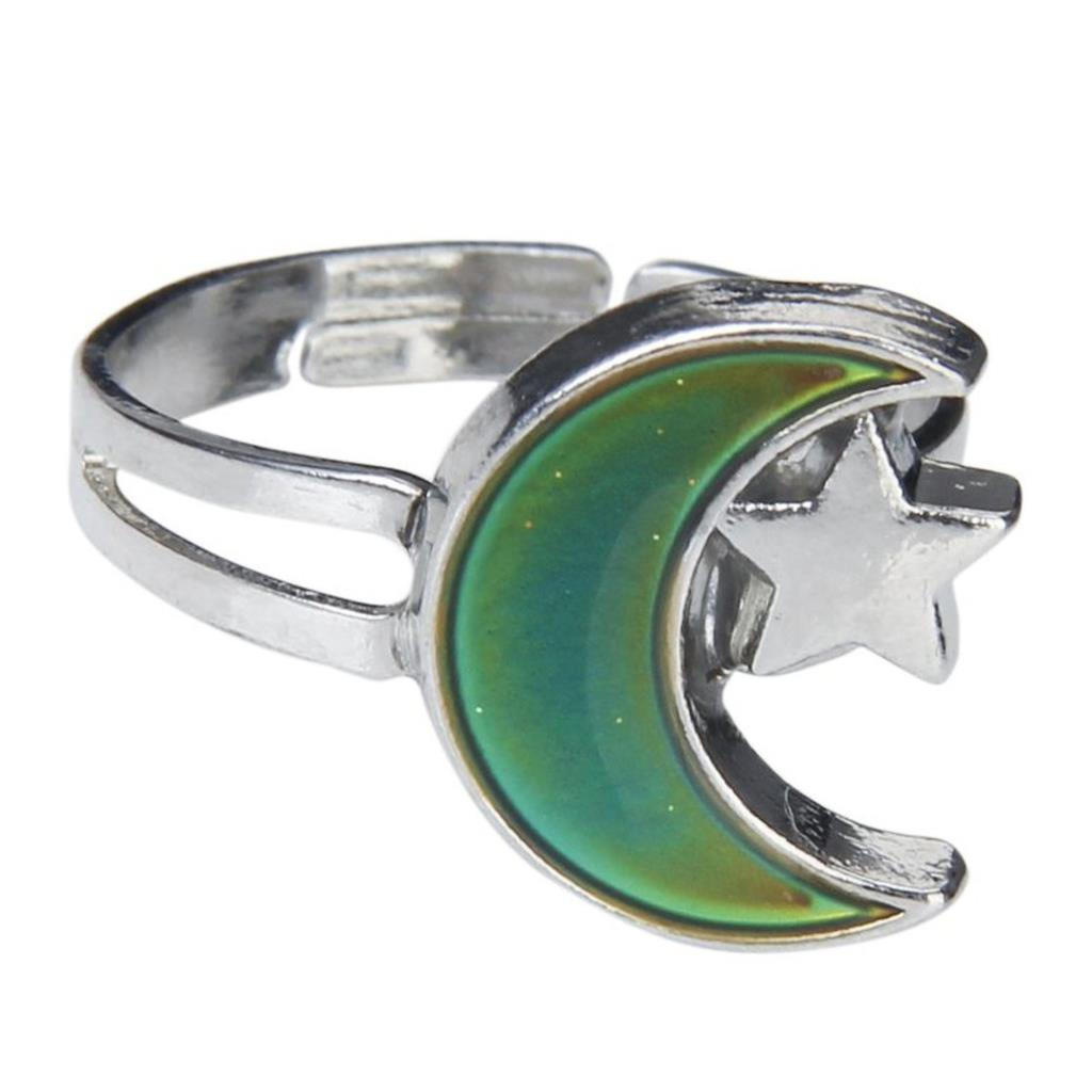 8 Pack Moon and Star Shape Color Change Emotion Feeling Mood Ring Changeable Band Adjustable Finger Ring(China (Mainland))