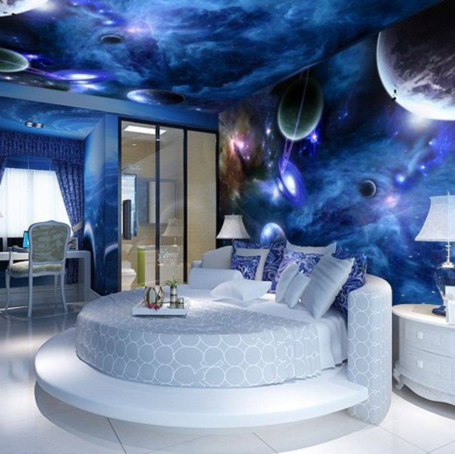 Online buy wholesale planet 3d wallpaper from china planet for Space themed bedroom wallpaper
