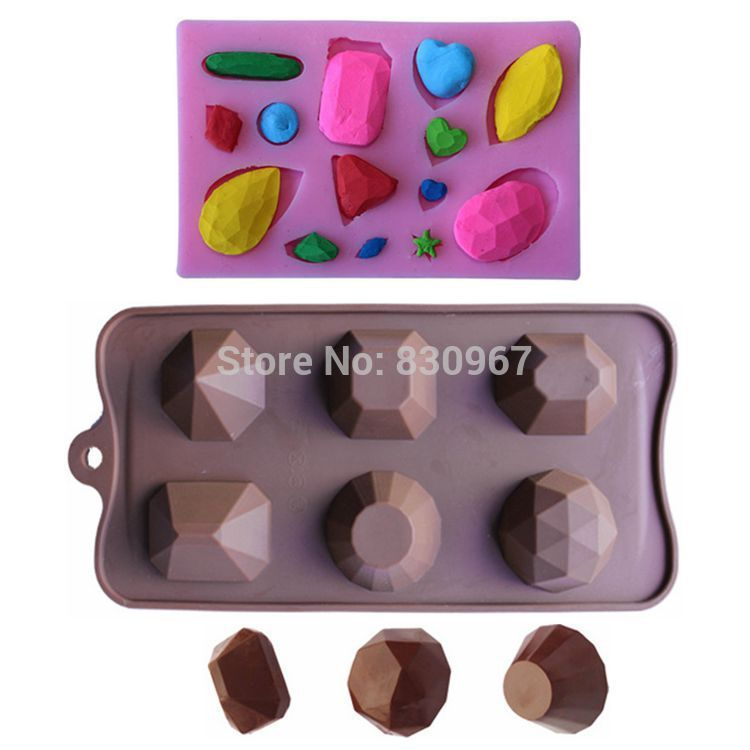 2 pcs/lot Gem Series Diamond Jewel Crystal Shape Silicone Chocolate Biscuit Jelly Mold Cookie Candy Cake Decoration C107+L074(China (Mainland))