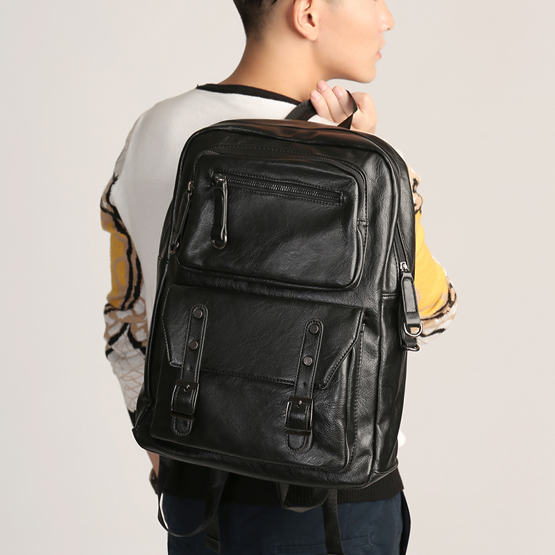 New Men's Backpacks Travel Bag Leather Student Casual Laptop Backpack School Bags for Teenagers Famous Brands Mochila Feminina
