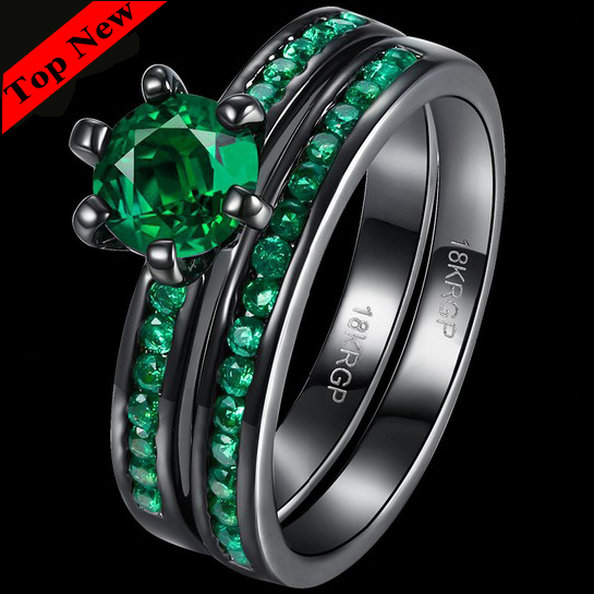 6mm Round Black Gun Plating Blue Green Purple CZ 2 PCS Double Twins Couple Wedding Rings Sets Mother's Day Gifts(China (Mainland))