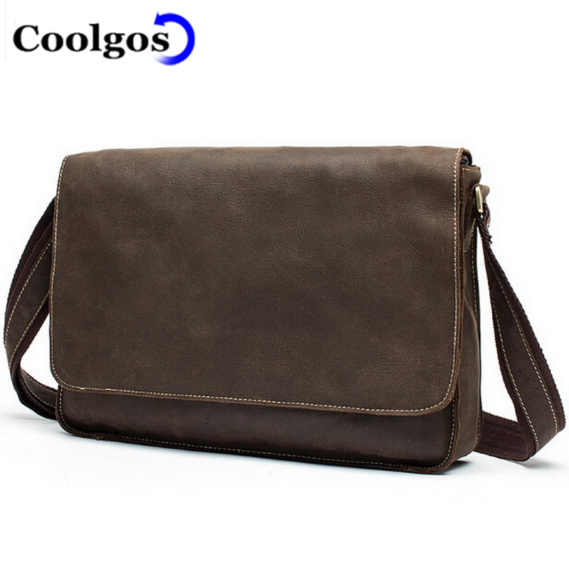 2016 Crazy Horse Leather Man Shoulder Bag Vintage Postman First Layer Cowhide Leather Men Messenger Bags Business Leisure Bags(China (Mainland))