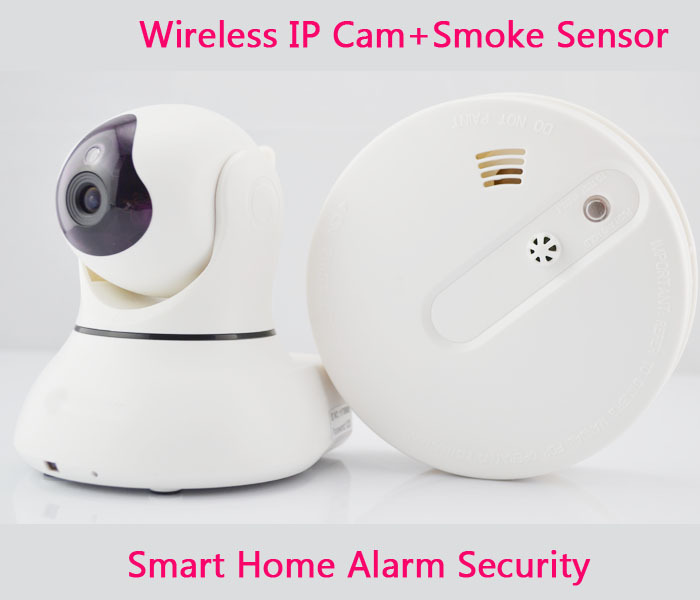 fire alarm systems security home wireless smoke detector 433mhz wifi ip camera 720p two way. Black Bedroom Furniture Sets. Home Design Ideas