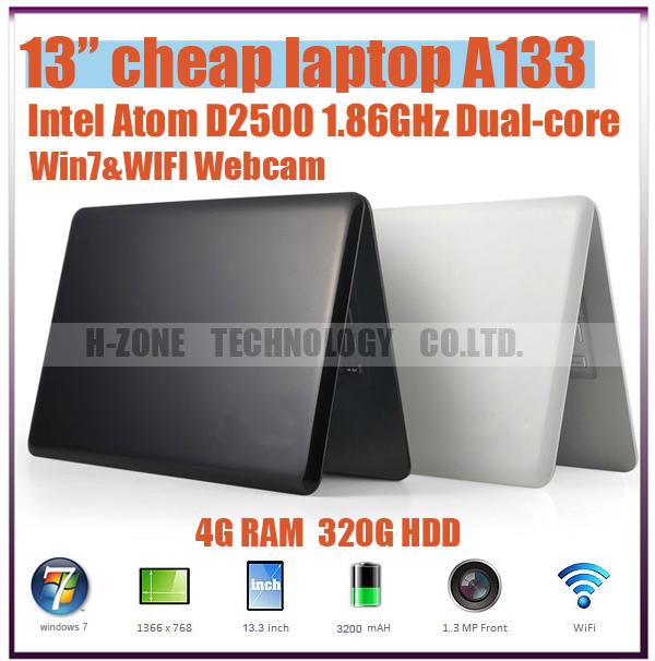 DHL Free Notebook Intel Atom D2500 Dual Core 1.86GHz 13.3 Inch Ultrabook Slim Laptop 4GB RAM 320GB HDD Webcam Wifi HDMI Windows7(Hong Kong)