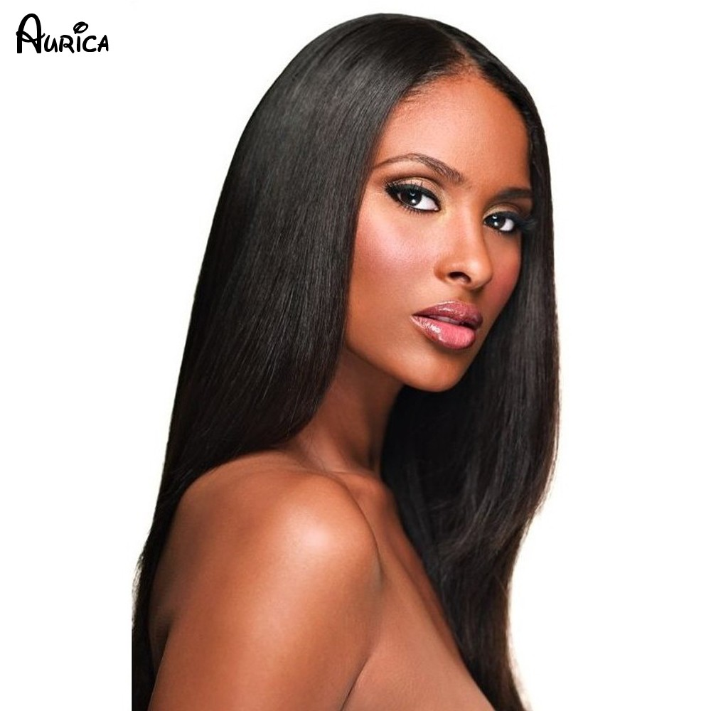 Silk Straight Natural Black Long Synthetic Lace Front Wig Glueless1B Color Heat Resistant Hair Wigs/Free Shipping New cheap