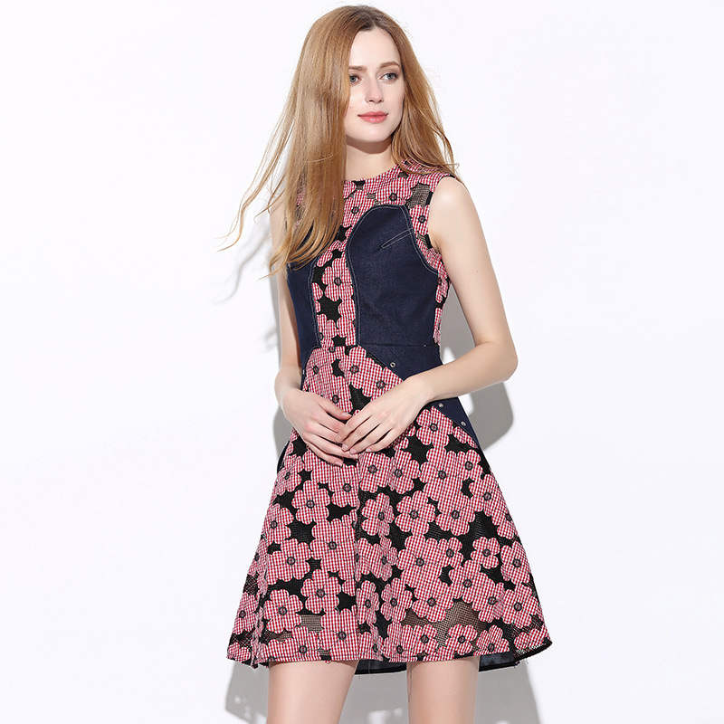 2016 Summer New Pattern Europe Station Major Suit Star Fund Cowboy Split Joint Spelling Receive Waist Dress 51403(China (Mainland))