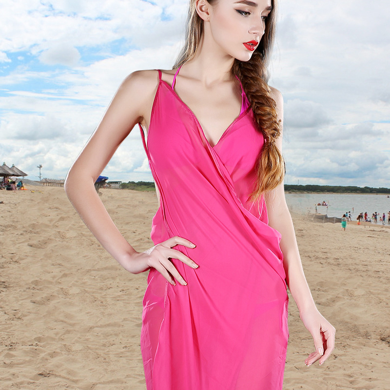 Women's Beach Cover-Ups For Bikini Swimwear Summer Style 13 Candy Color Swimsuit Chiffon Dress Beach Wear Bathing Suit Cover Up(China (Mainland))