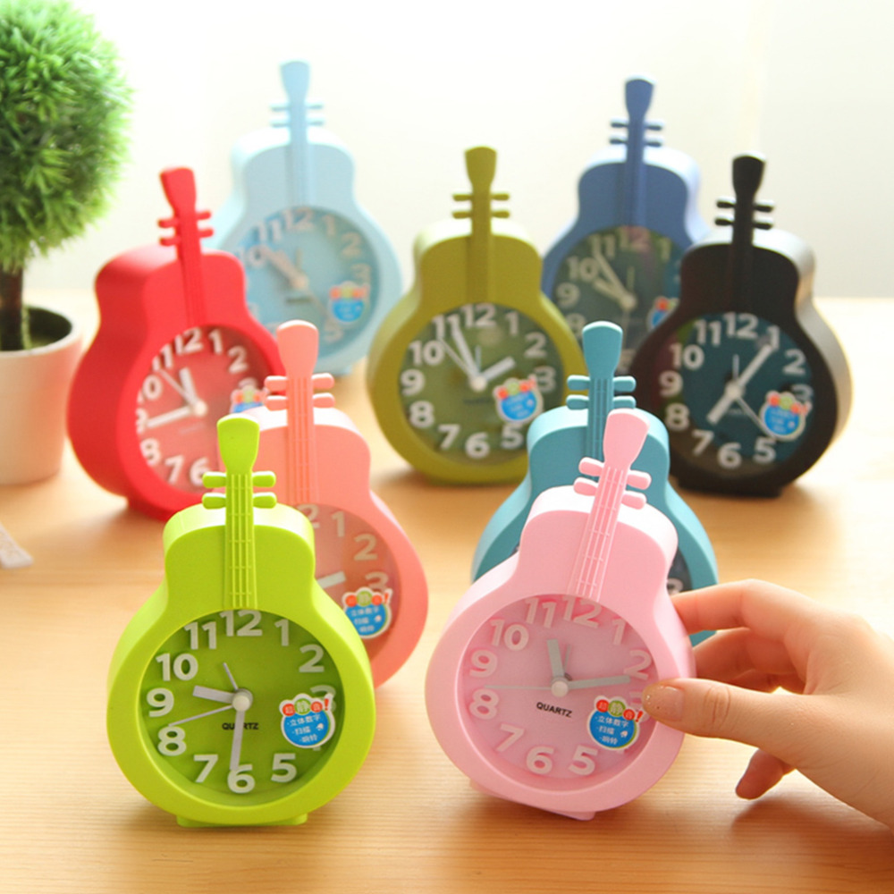 Newly Fashion cute Violin Shape Kids Alarm Clock Desktop Students Horse Style Table Mute Cartoon Clock Eco-friendly Materials(China (Mainland))