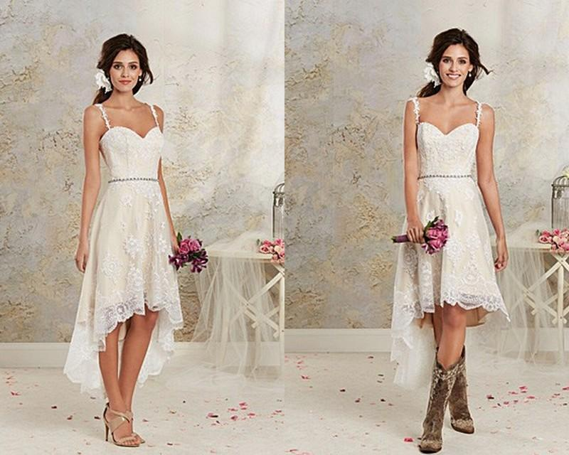Beach Wedding Dresses Short In Front Long In Back : Hi lo lace beach wedding dresses gown spaghetti