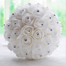Buy Crystal White Ivory wedding bouquet Bridesmaid artificial wedding bouquets de noiva flower rose bridal bouquet de mariage for $18.60 in AliExpress store