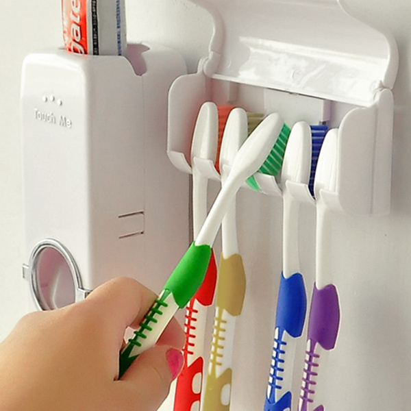 NEW Fashion bathroom accessories Automatic toothpaste dispenser + toothbrush holder toothbrush Family sets(China (Mainland))