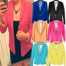 Spring OL Suit Blazer Women Blaser Femenino Candy Color One Button Women Blazers Coat Casual Fashion Slim Fit Blazer Jacket 2017(China (Mainland))