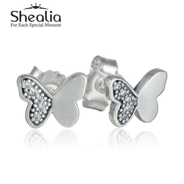 2016 весной новый небольшой CZ алмазная вымощают бабочки серьги для женщин твердые 925 серебряные серьги ювелирных украшений EAR043
