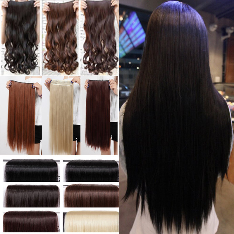 """cheapest real 3/4 full head clip in on hair extensions Extention straight 26"""" 66CM 1 piece 100% Great Quality Black Brown Purple(China (Mainland))"""