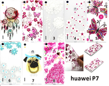 Fashion Patterns Soft Clear Cases Slim TPU Gel Silicon Phone Case for Huawei P7 Ultra Thin Transparent Cover Bags