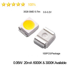 New High Brightness 3528 SMD LED  5-7lm  3.0-3.2V 6000K  3000K Current 20mA  Free Shipping