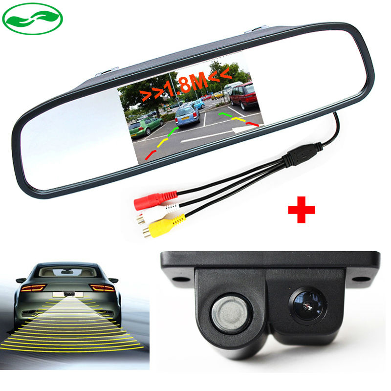 3in1 Sound Alarm Car Video Parking Sensors Assistance Rear View Camera + 4.3 inch Car Rearview Mirror Monitor(China (Mainland))