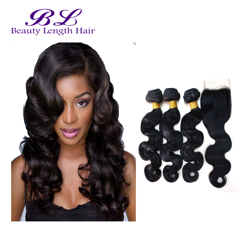 7A Queen Hair Products With Closure Bundle Brazilian Virgin Hair With Closure Body Wave  Brazilian Hair  Human Hair Closure