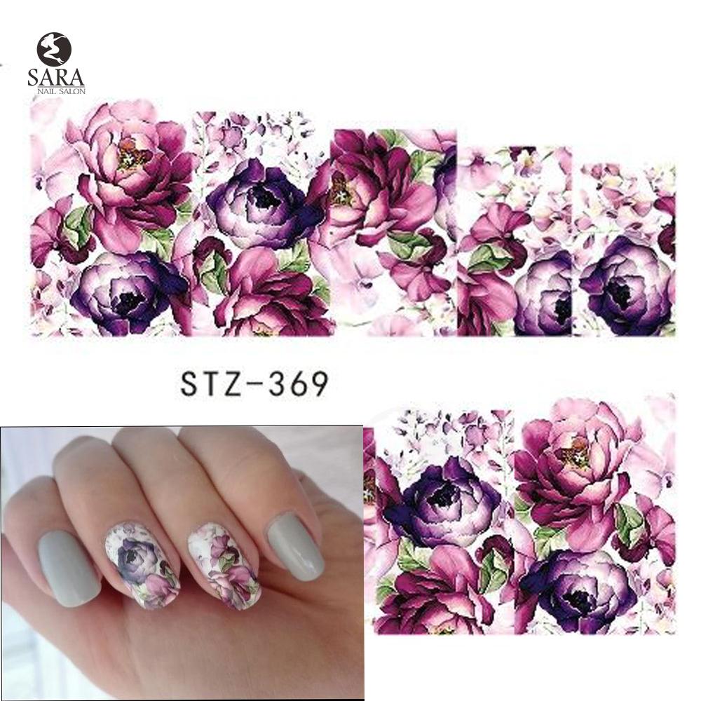 Sara Nail Salon 1PCS Water Transfer Nails Art Sticker Purple Flowers Nail Wraps Sticker Watermark Fingernails Decals STZ369(China (Mainland))