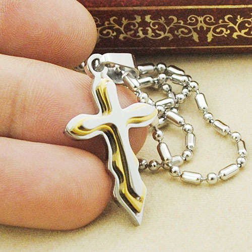 Small cute crucifix pendant necklace 3 layer waves cross design for women girl 2015 high quality jewelry GP339(China (Mainland))