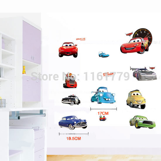 33x60cm TC1088 Cars Wall Sticker Kid Favorite Cartoon Figure Window Cling Mixable Children Room Daycare Decal Free Drop Ship - Lovely Home-Lise store