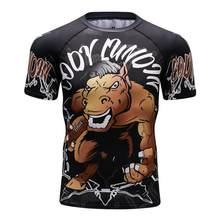 New 3d Imprime Camisetas Mens Compressão Camisa Camada de Base de Manga Curta de Treino de Fitness Musculação Encabeça Rashguard MMA Camiseta(China)