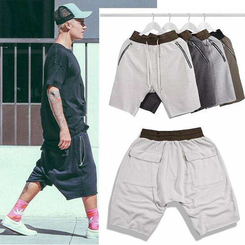 Summer Hip Hop Style New Fashion Men's High Street Shorts Black Cotton Loose Justin Bieber Outerwear Hip Hop Shorts(China (Mainland))