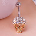 2015 New Surgical Steel Full Crystal Rhinestone Skull Navel Ring Belly Button Bar Ring Piercing Lingerie