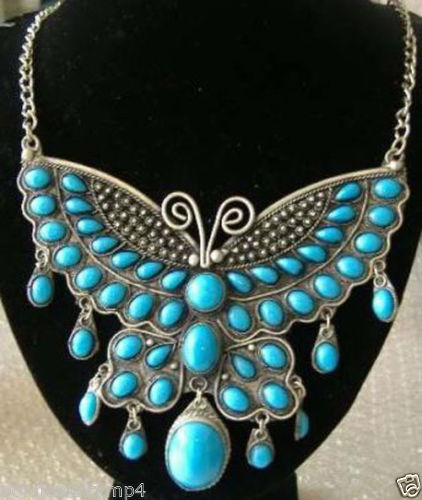 FREE SHIPPING hot sale~~~~Jewelry Tibet Turquoise Butterfly Necklace(China (Mainland))