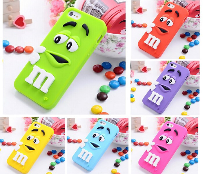 2014 Hot item 3D Cartoon M&M Chocolate Case Bean Phone Defender Soft Silicon Back Cover for iPhone 5/5s(China (Mainland))