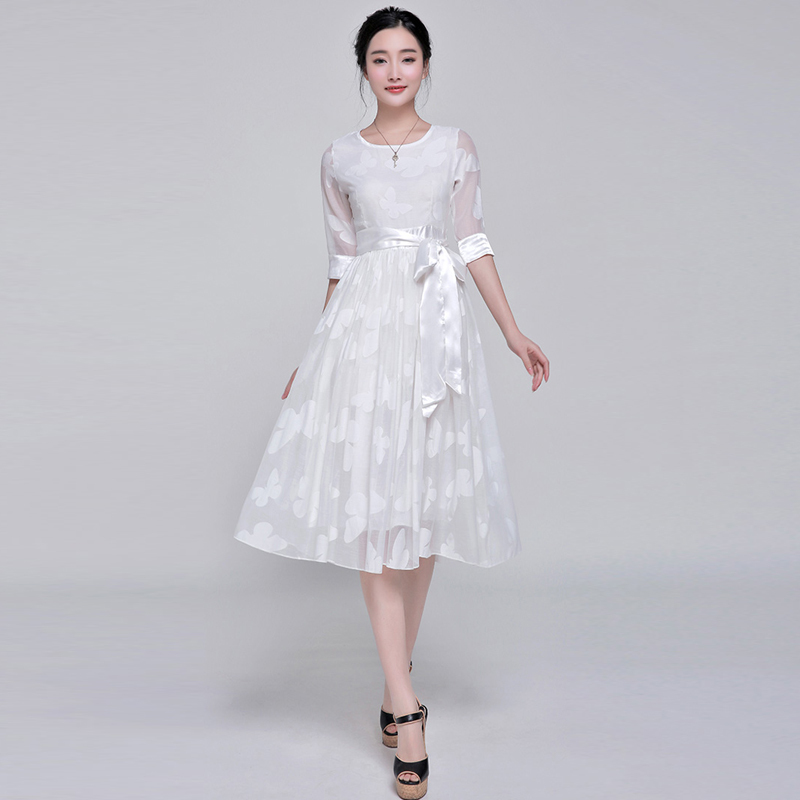 Ladies New 2015 Spring Summer White Butterfly Embroidery Half Sleeve Formal Casual Mid-calf Dresses Women Brief Vestidos(China (Mainland))